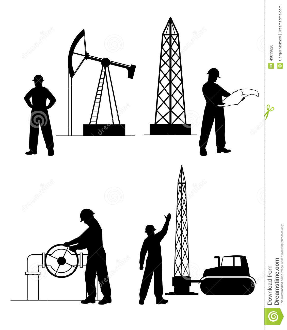 Silhouette Oilman Background In Infrastructure Stock