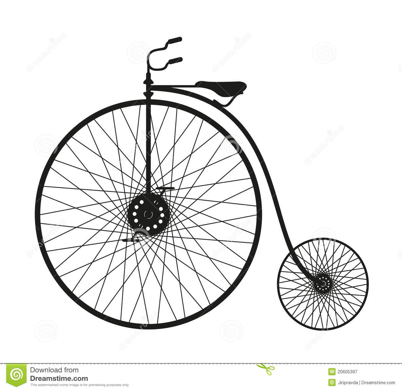 Silhouette Of An Old Bicycle Stock Vector