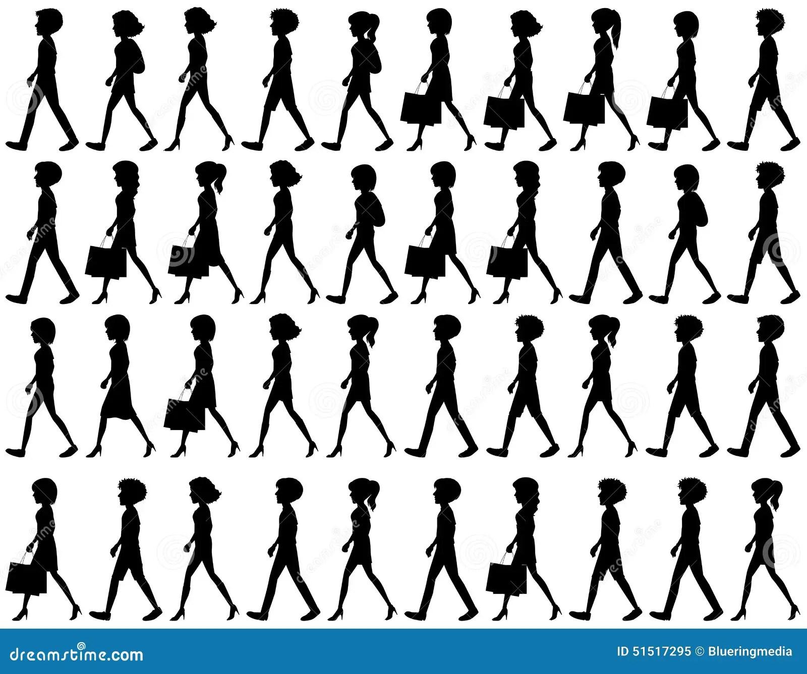 Silhouette Of People Walking Stock Vector
