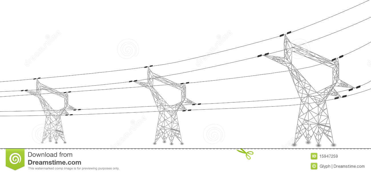Silhouette Of Power Lines And Electric Pylons Stock Vector