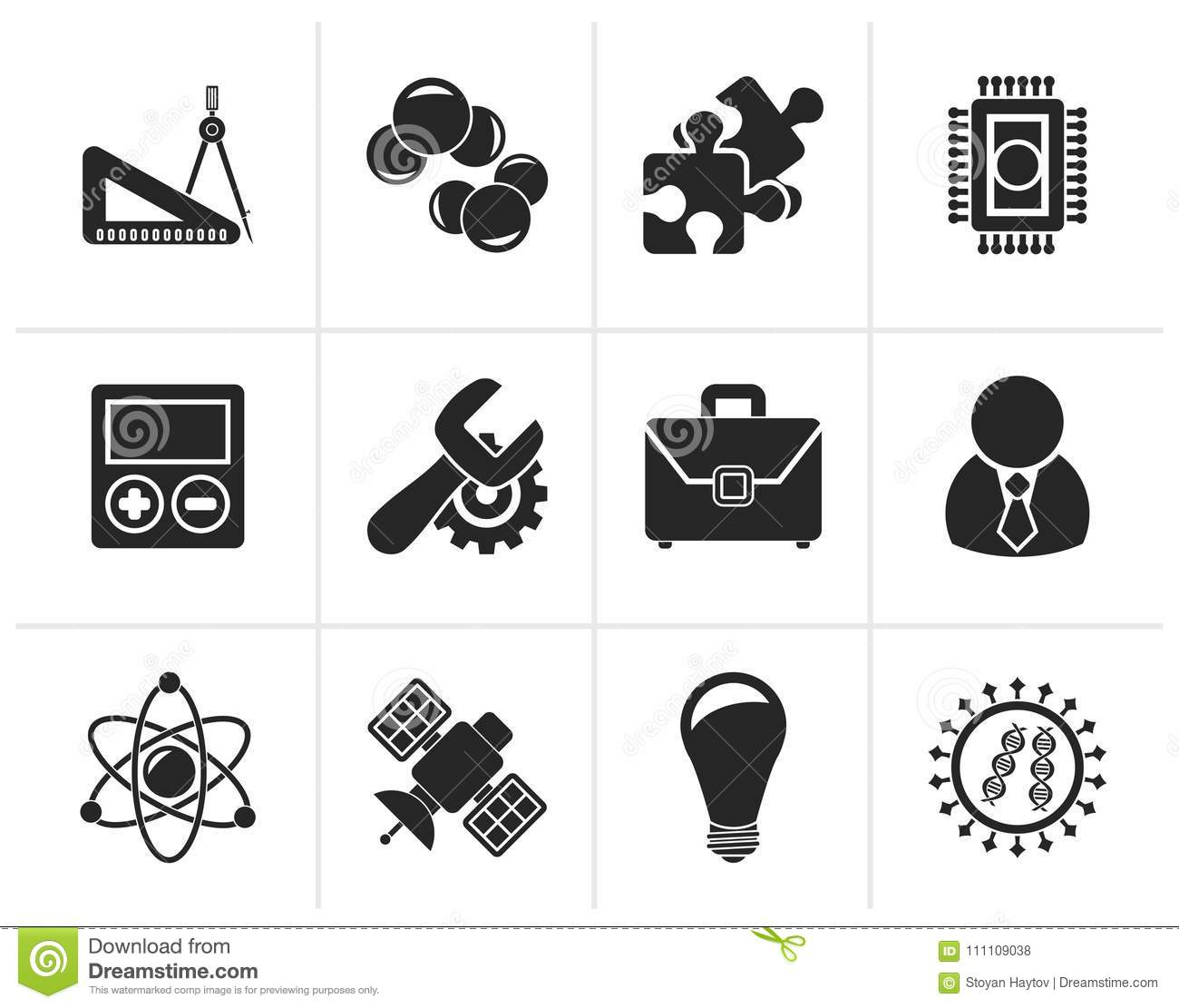 Silhouette Science And Research Icons Stock Vector