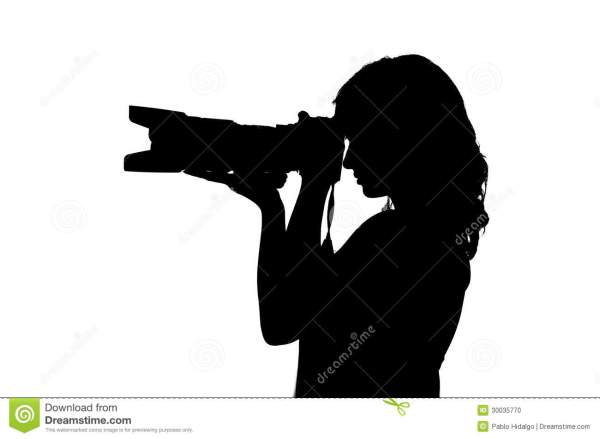 Silhouette Of Girl With Camera Stock