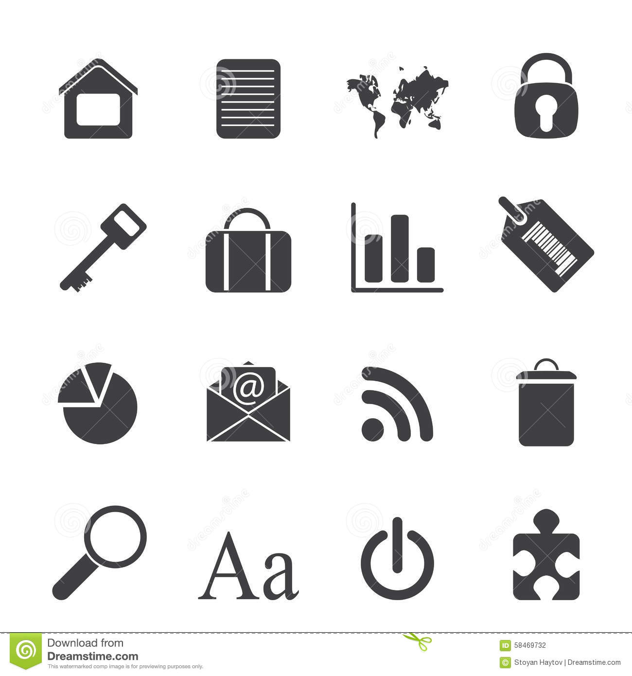 Silhouette Simple Business And Internet Icons Stock Vector
