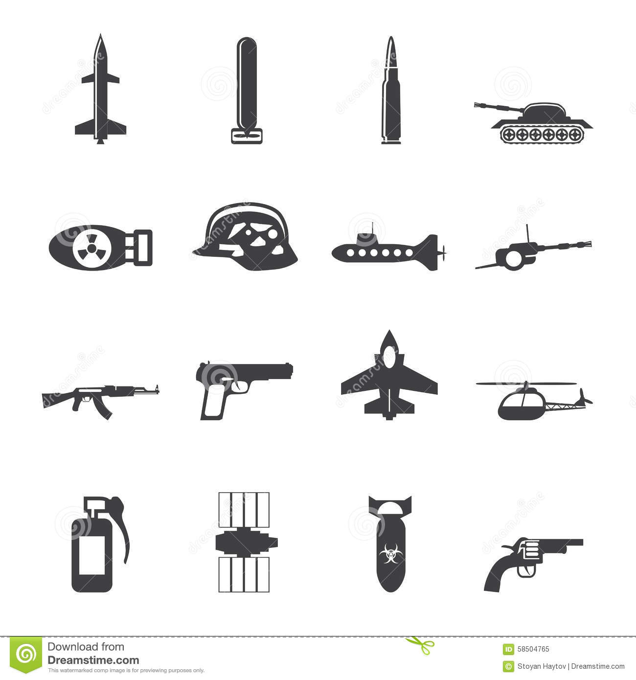 Silhouette Simple Weapon, Arms And War Icons Stock Vector