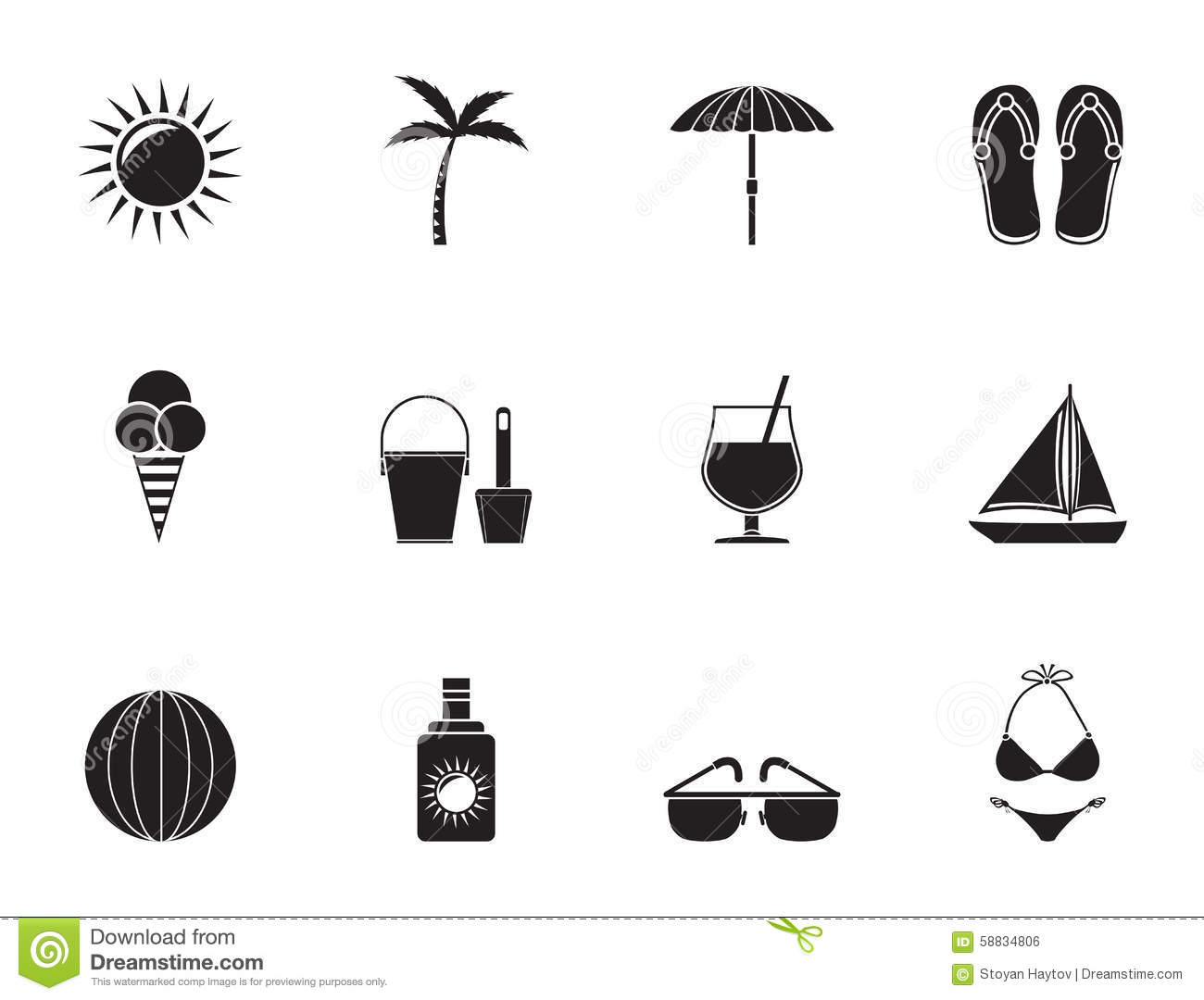 Silhouette Summer Holiday And Beach Objects Stock Vector
