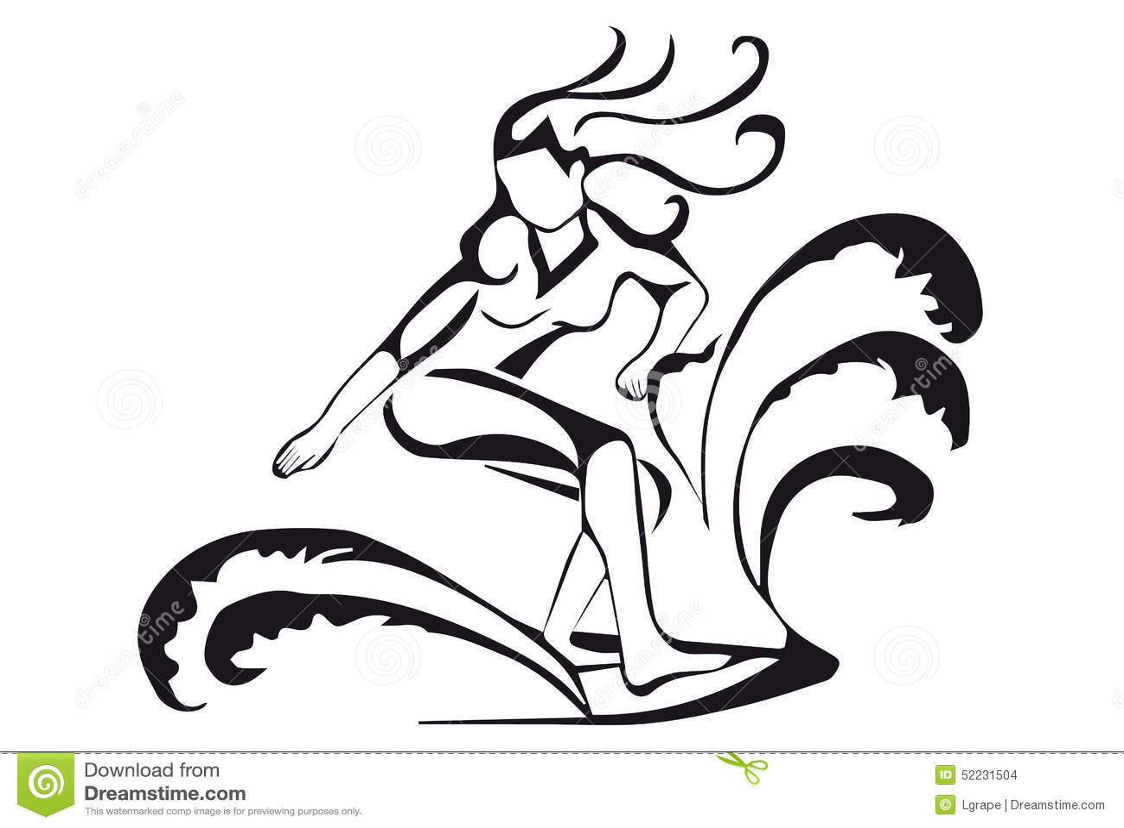 Surfer Silhouette Girl Clip Art Cliparts