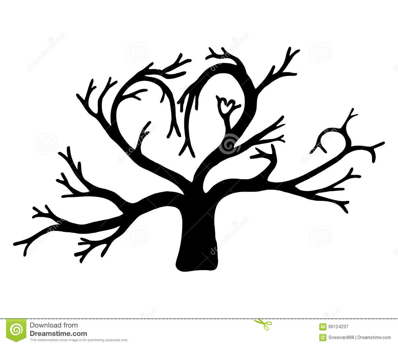 Silhouette Of A Tree In The Shape Of A Heart Isolated On