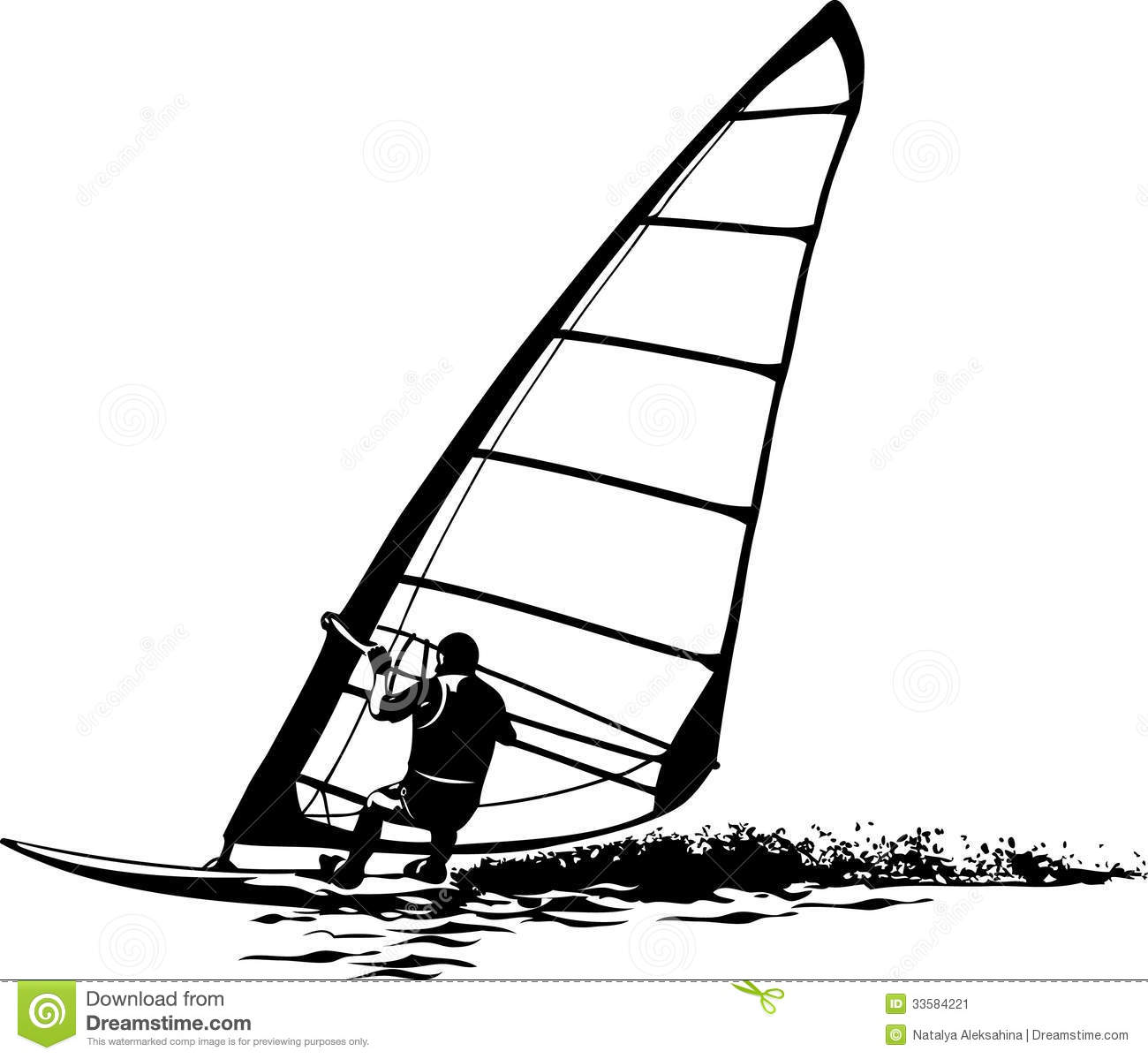 Silhouette Of The Windsurfer Stock Image