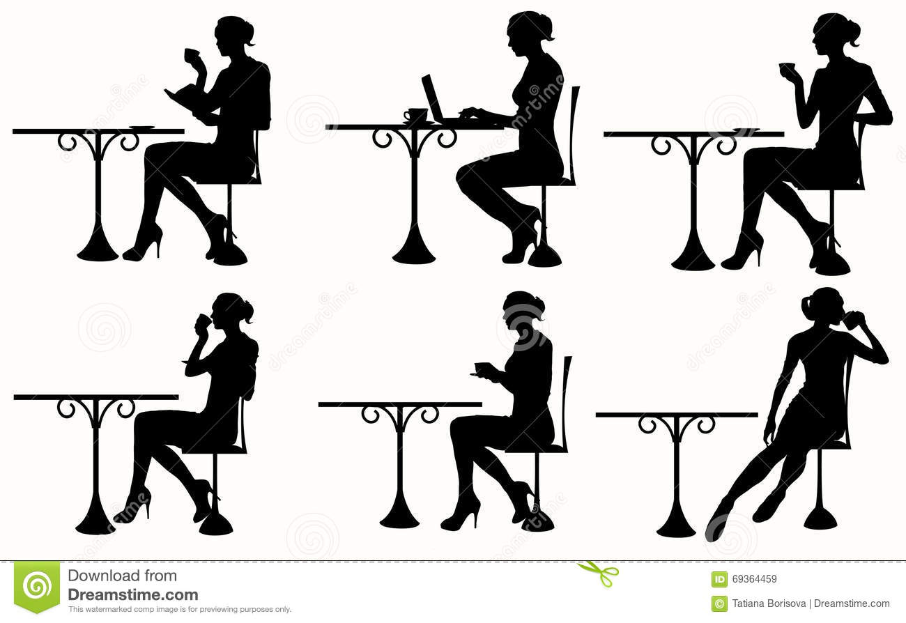 Silhouette Of Woman Sitting At The Table Stock Vector
