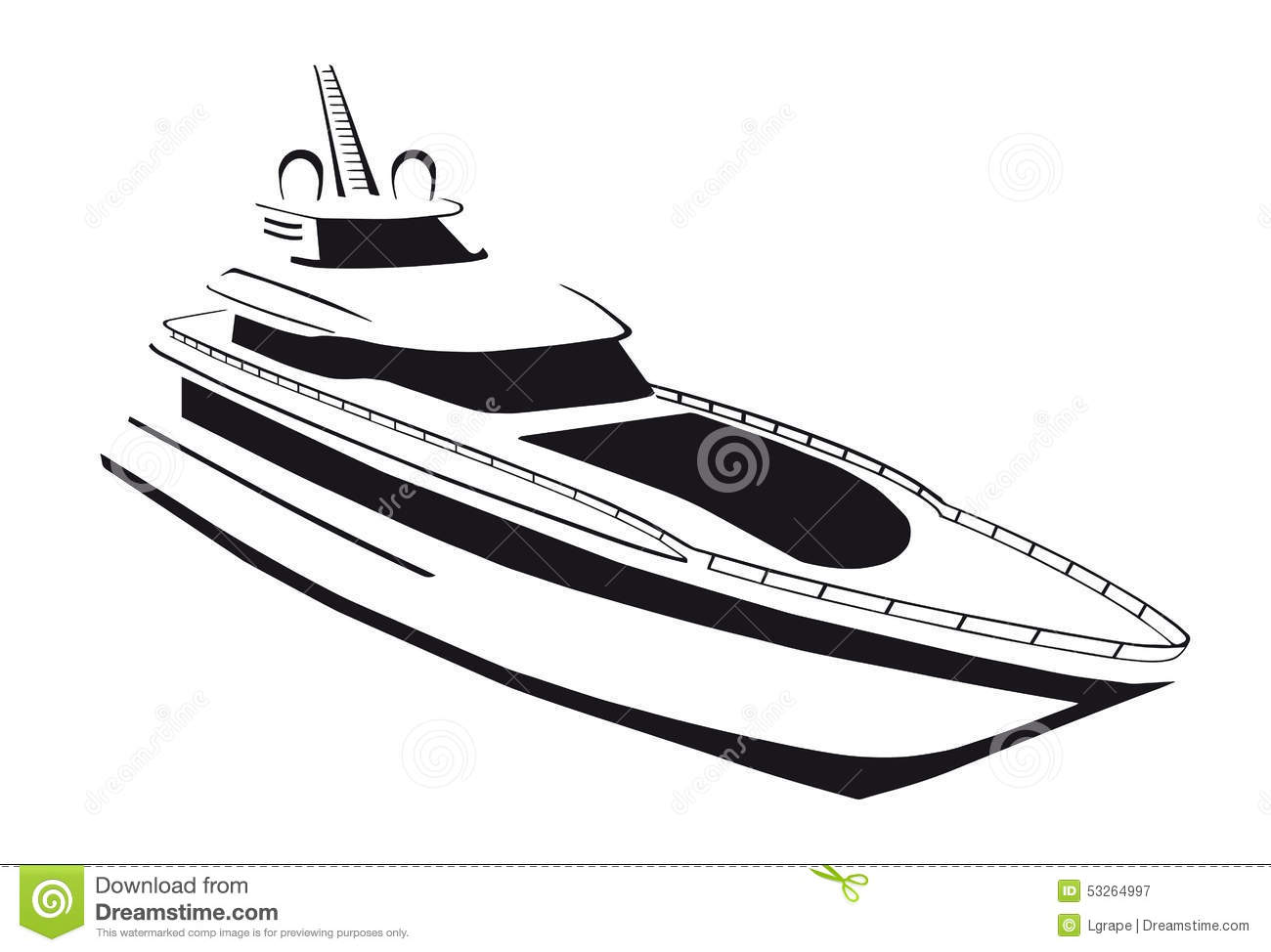 Silhouette Of The Yacht Ship Boat Stock Vector