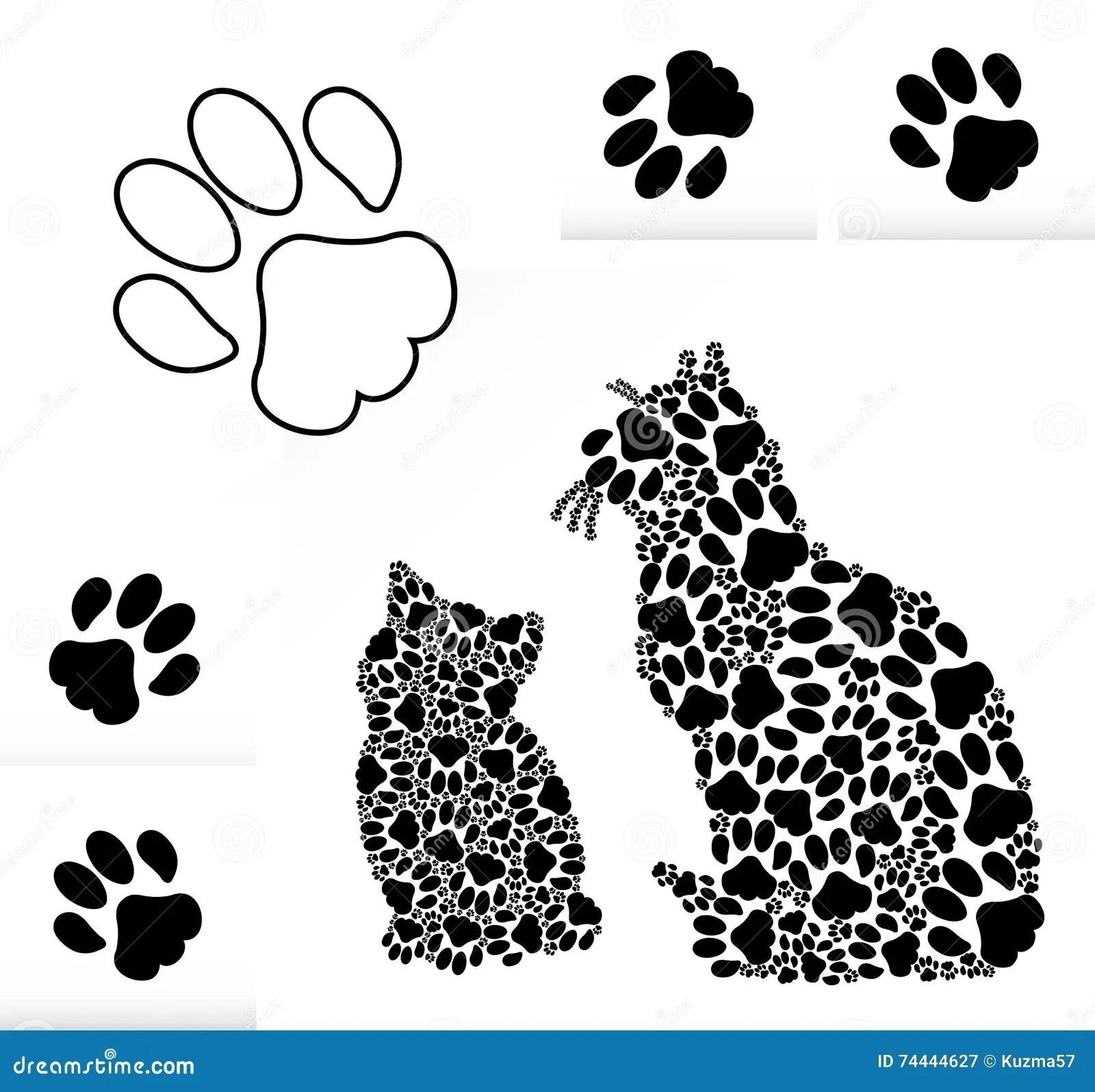 Silhouetten Van Katten Van Poten Stock Illustratie