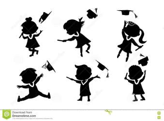 cartoon graduate student silhouettes diploma happy illustration college jump excited classmates preview