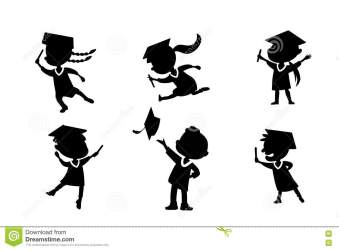 cartoon student graduate silhouettes college graduation excited happy classmates jump diploma bachelor preview