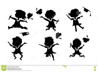 graduate cartoon student jump silhouettes classmates college excited diploma happy achievement preview