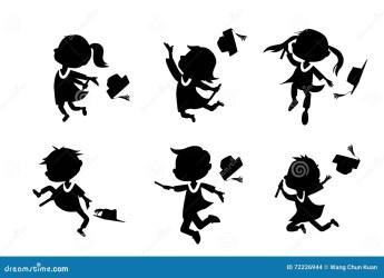 student cartoon graduate college happy excited beeldverhaal gediplomeerde silhouetten classmates silhouettes jump holds viering leuk