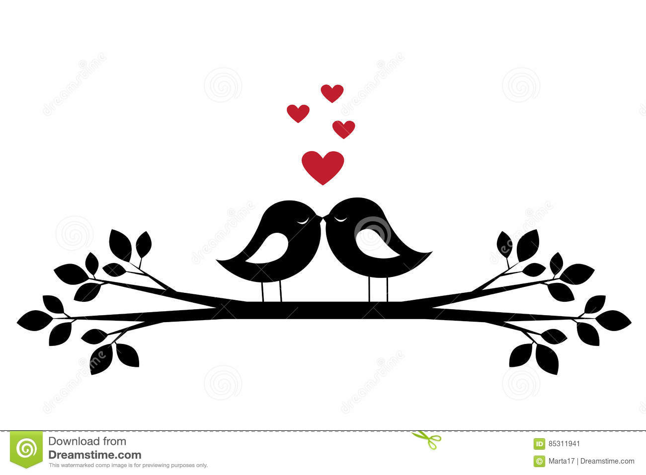 Silhouettes Cute Birds Kiss And Red Hearts Stock Vector