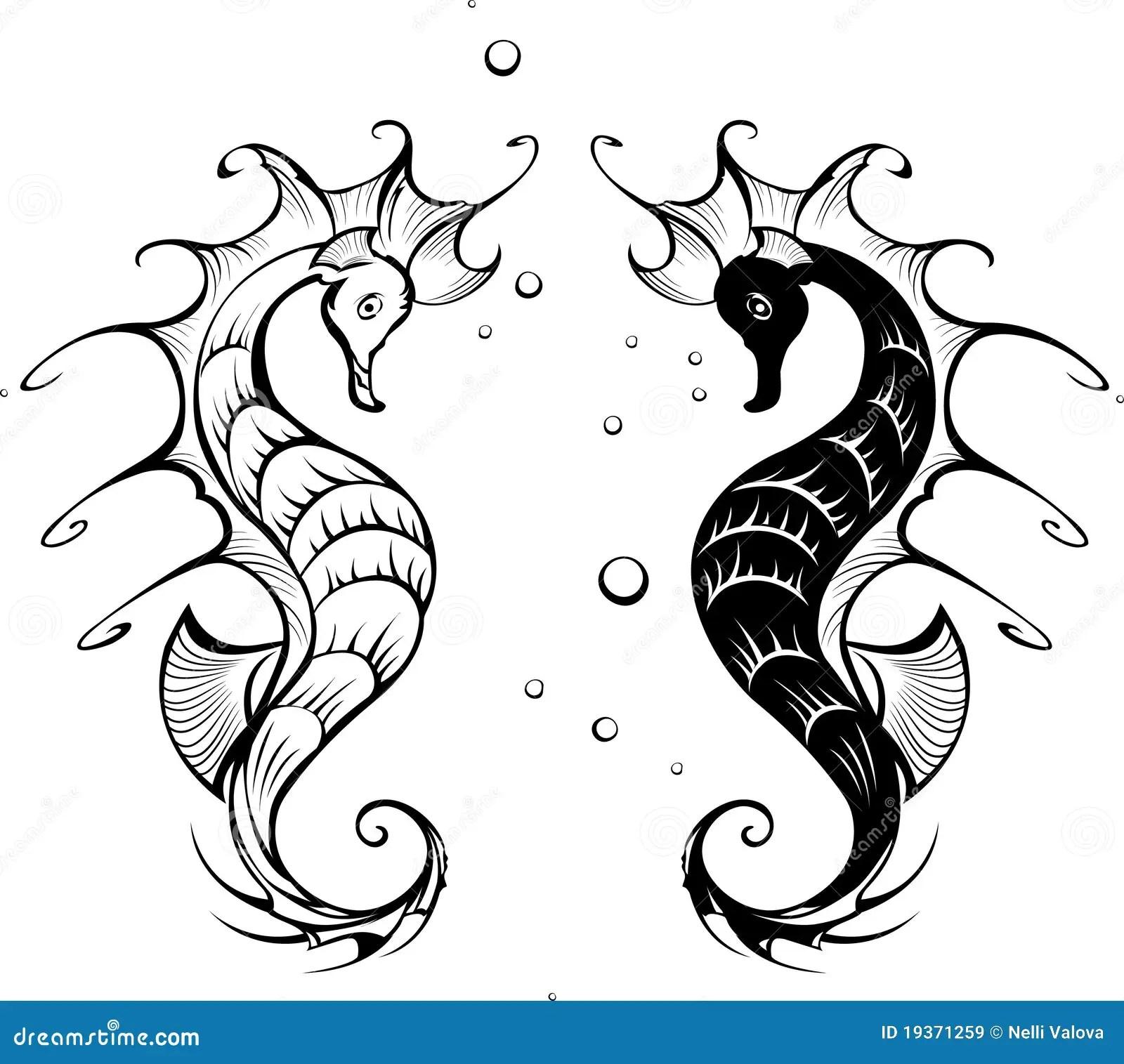 Silhouettes Des Hippocampes Illustration De Vecteur