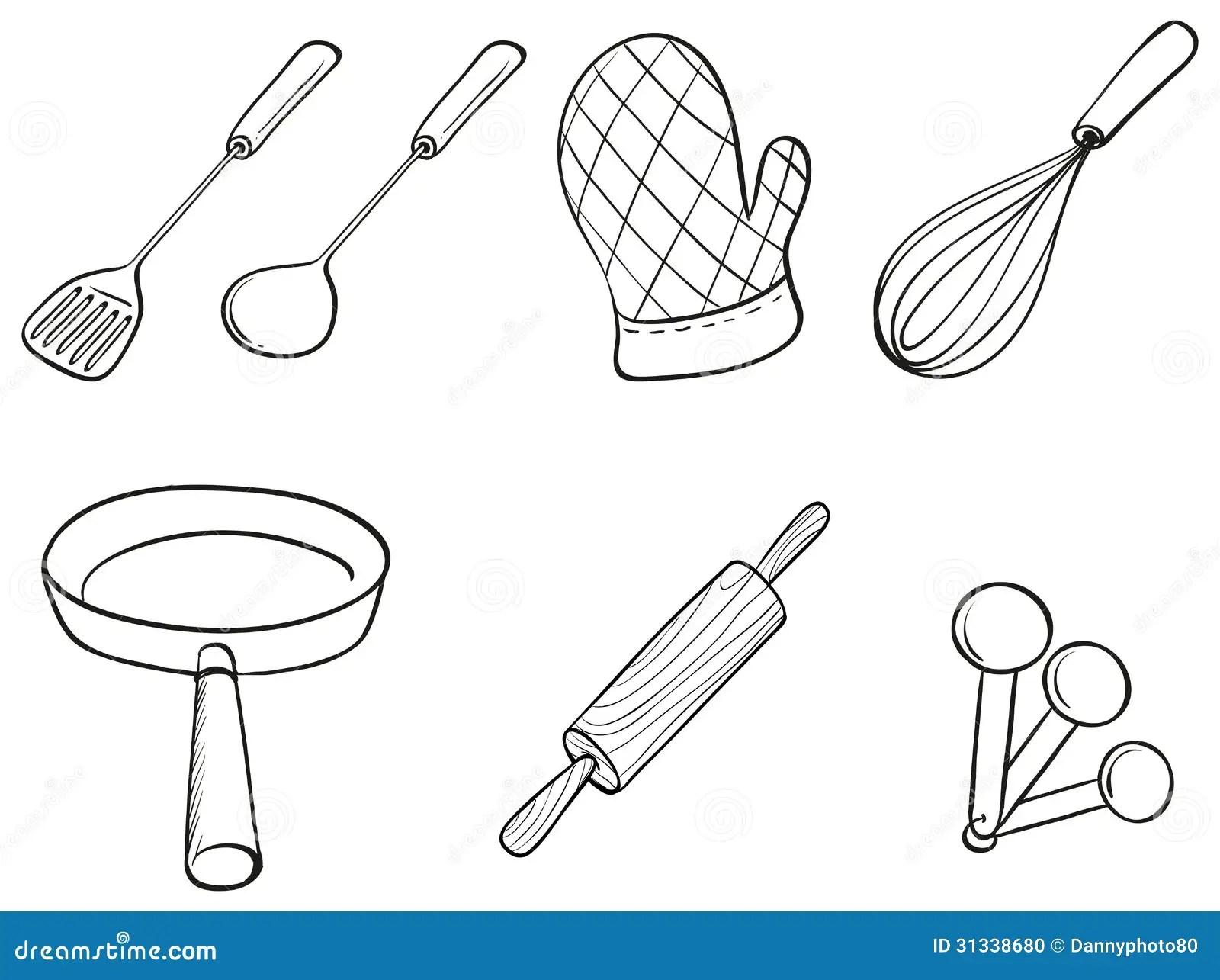 Silhouettes Des Ustensiles De Cuisine Illustration De