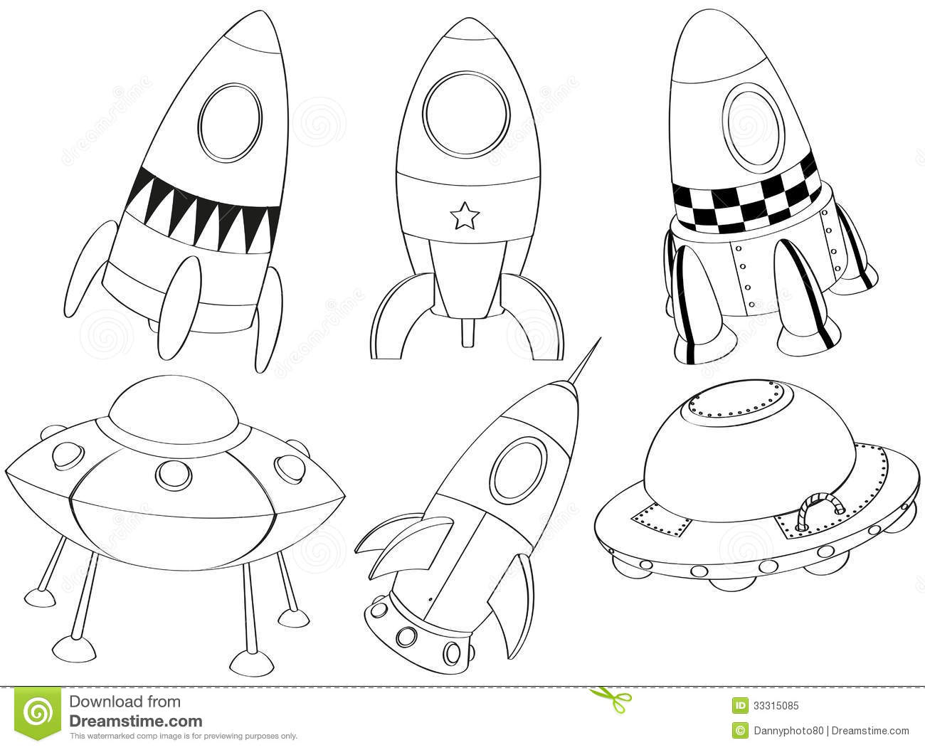 Silhouettes Of The Different Spaceships Royalty Free Stock