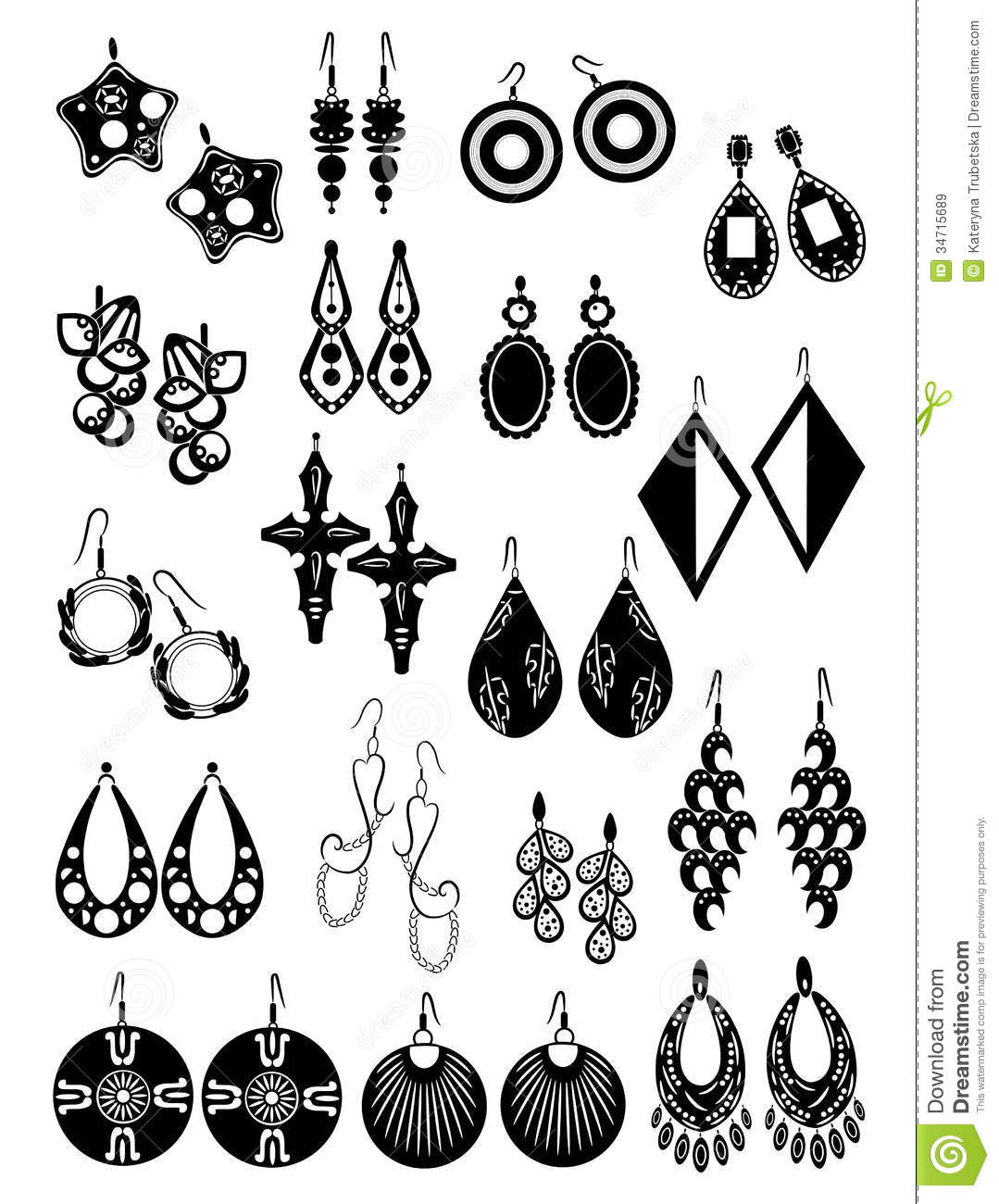 Silhouettes Of Earrings Stock Vector Illustration Of