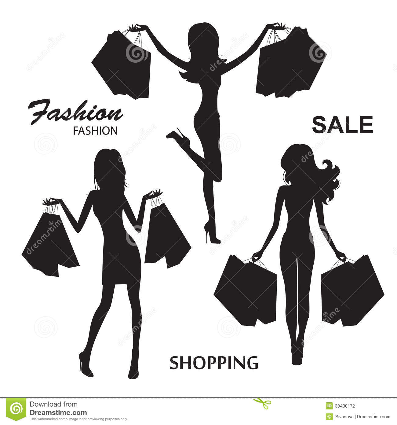 Silhouettes Of Fashion Women Stock Photography