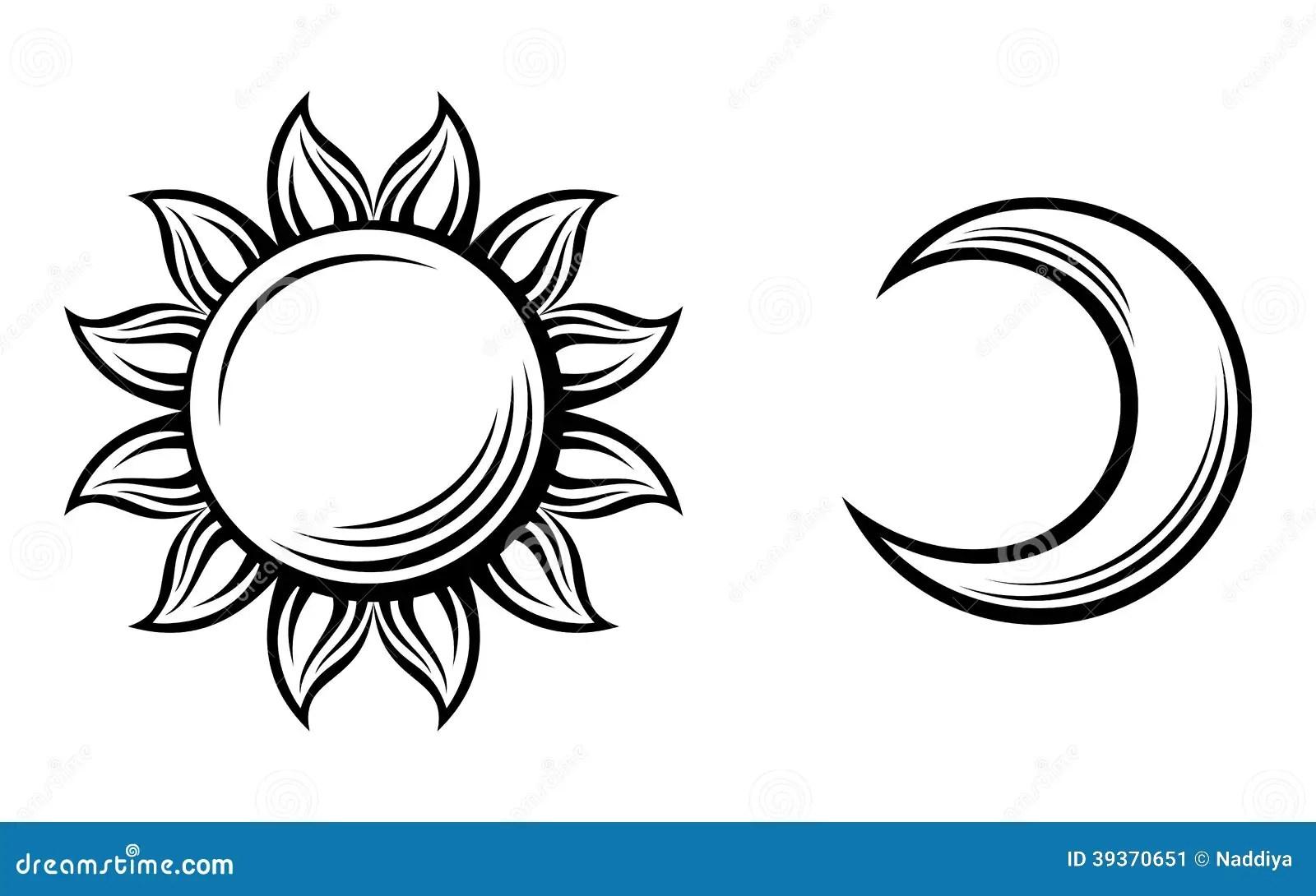 Silhouettes Noires Du Soleil Et De La Lune Vecteur