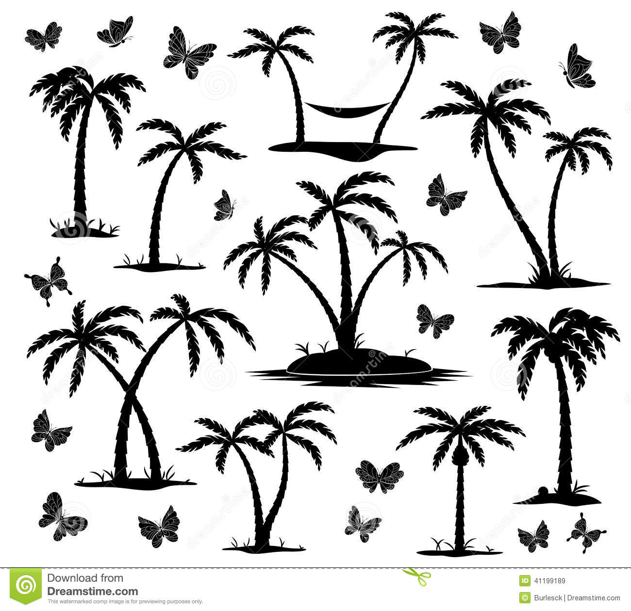 Silhouettes Of Palm Trees Stock Vector Illustration Of
