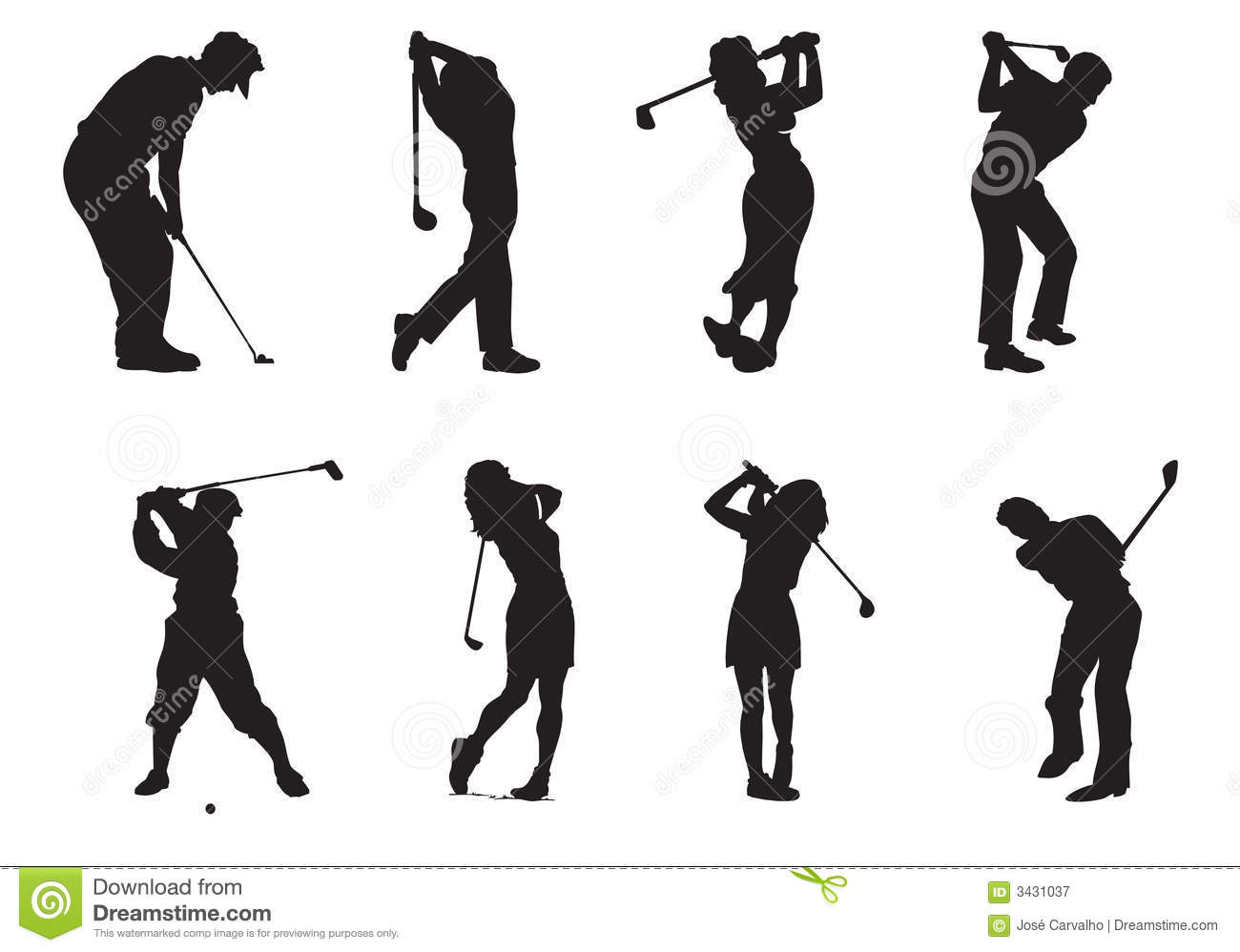 Silhouettes Of Players Of Golf Stock Vector