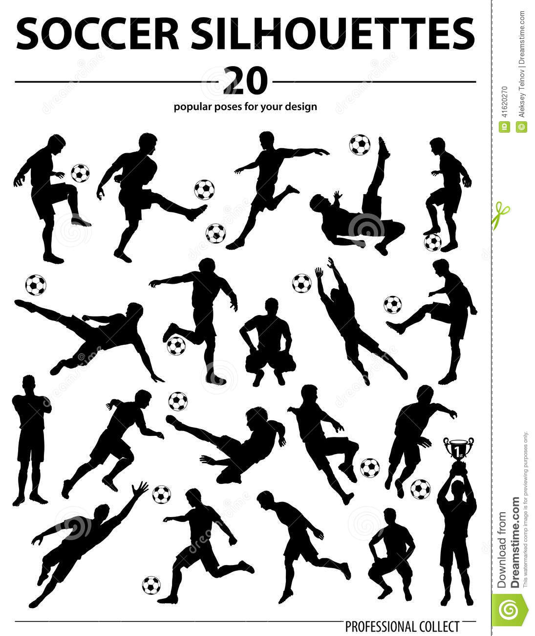 Silhouettes Soccer Players stock vector. Illustration of