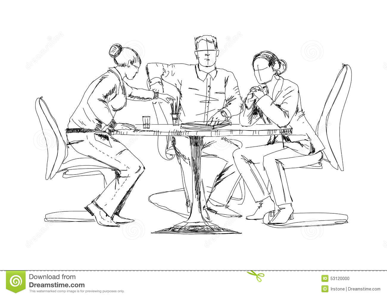 Silhouettes Of Successful Business People Working On
