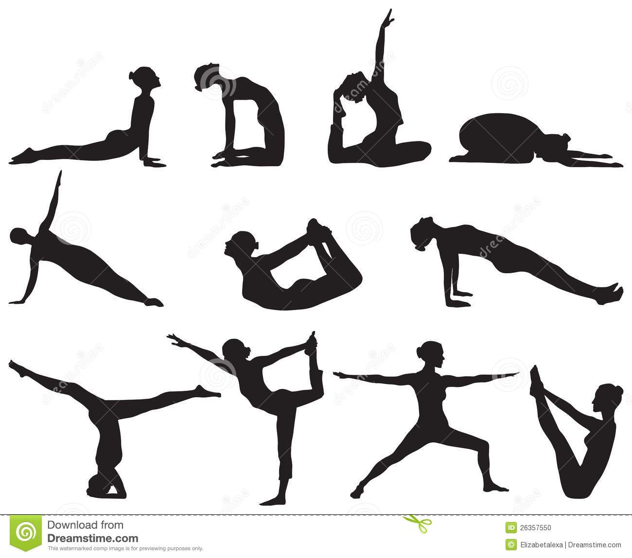 Silhouettes Of Yoga Positions On White Background Stock