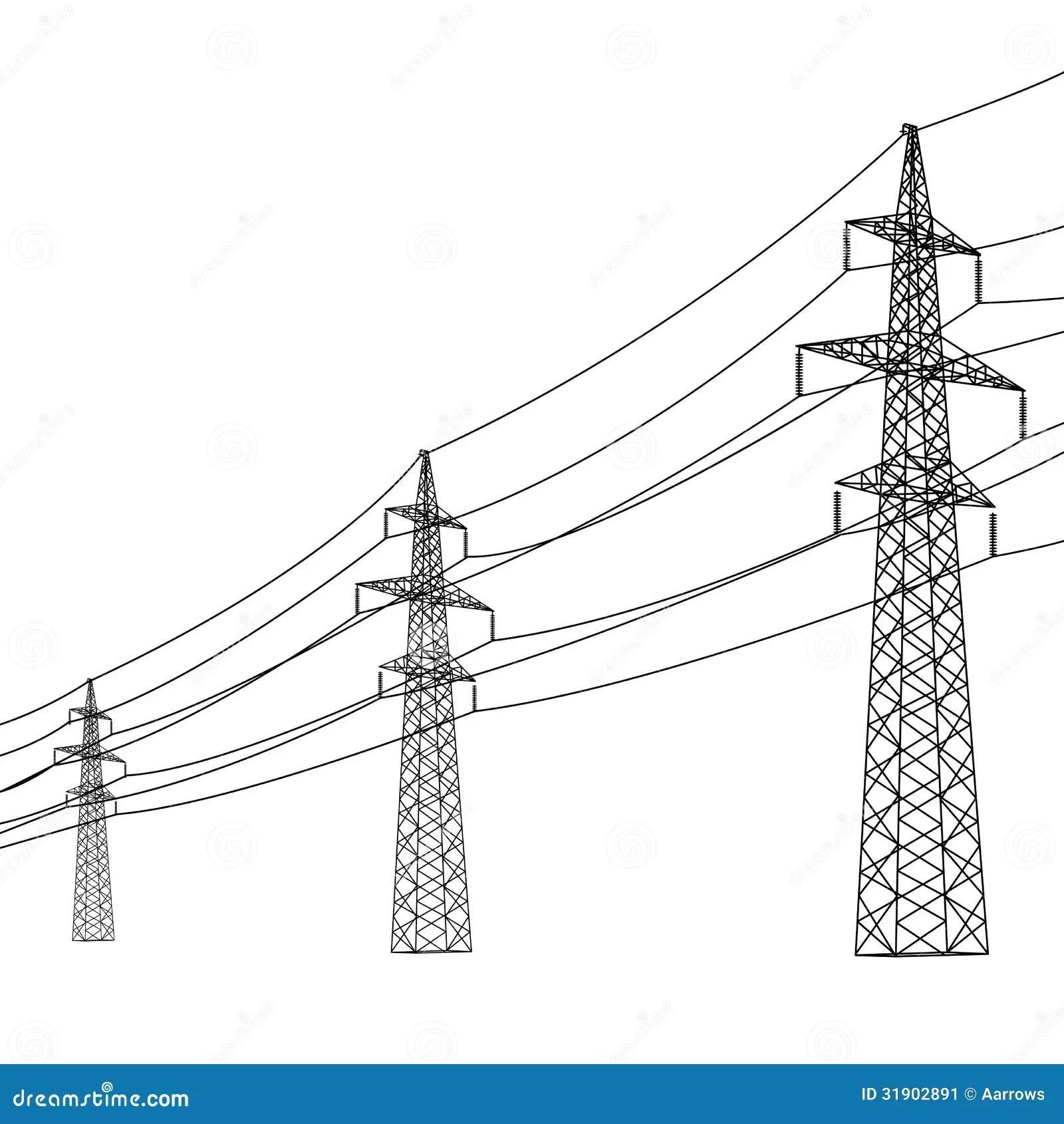 Silhueta De Linhas Electricas De Alta Tensao Ilustracao