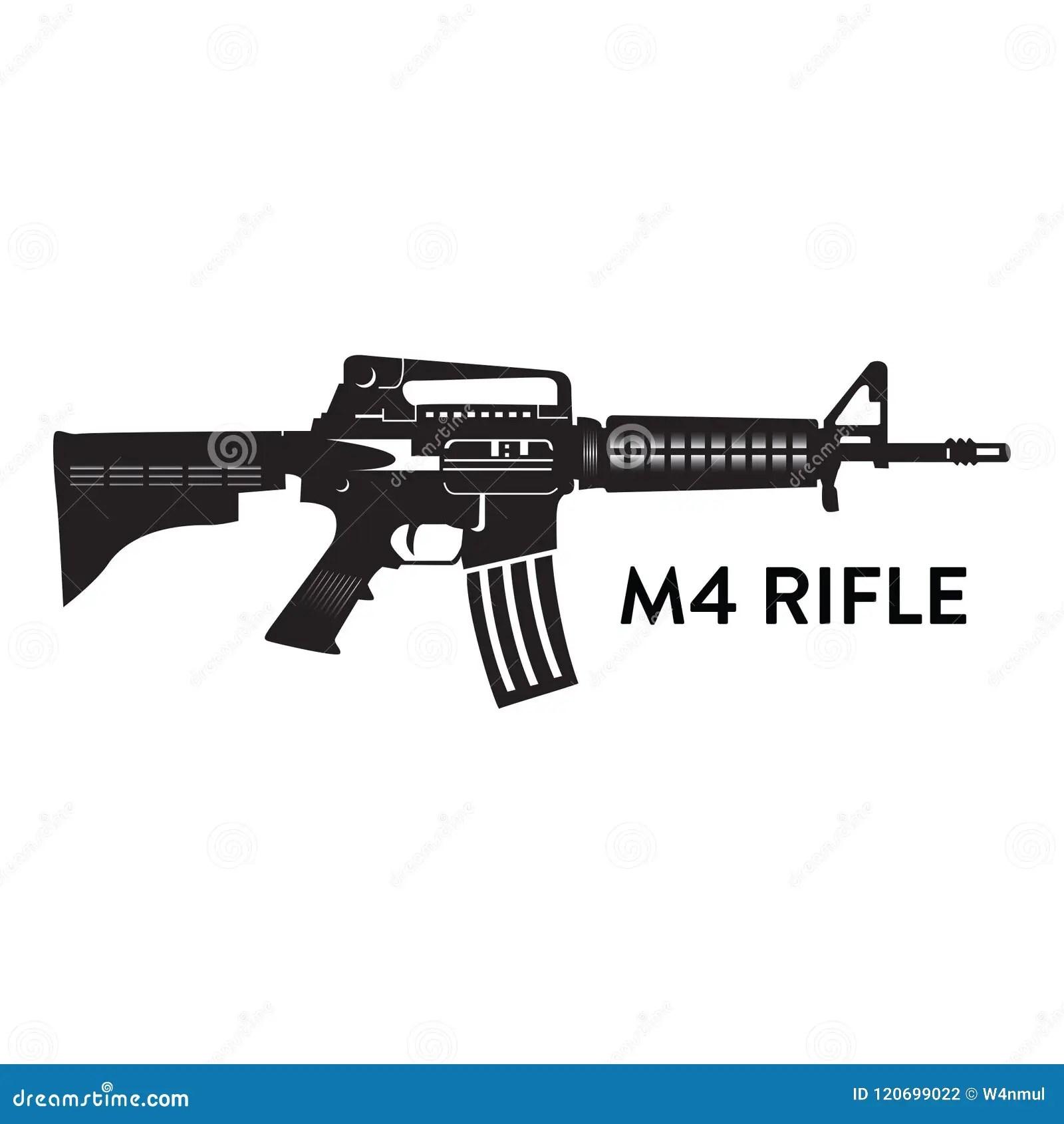 Silhueta Do Vetor Do Rifle M4 Ilustração do Vetor