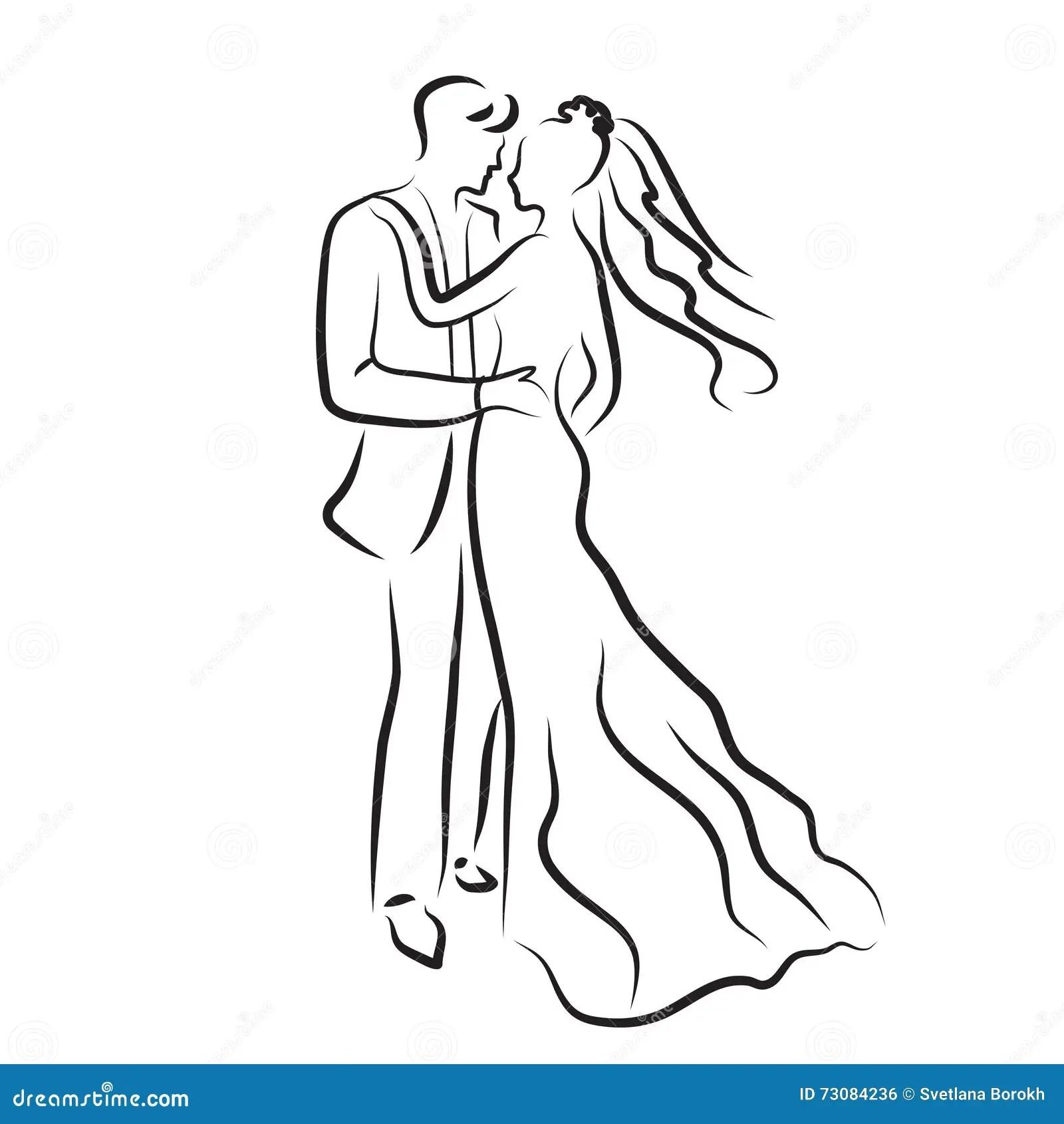 Silhueta Dos Noivos Esboco Dos Recem Casados Desenho Da