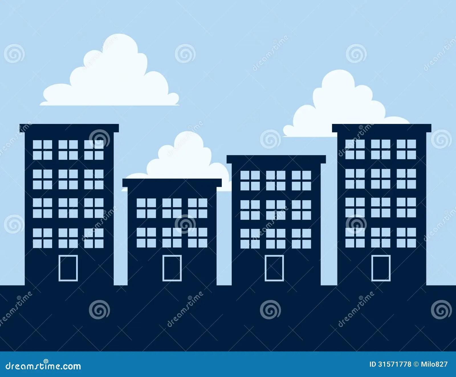 Silhuetas Do Prdio De Apartamentos Ilustrao do Vetor
