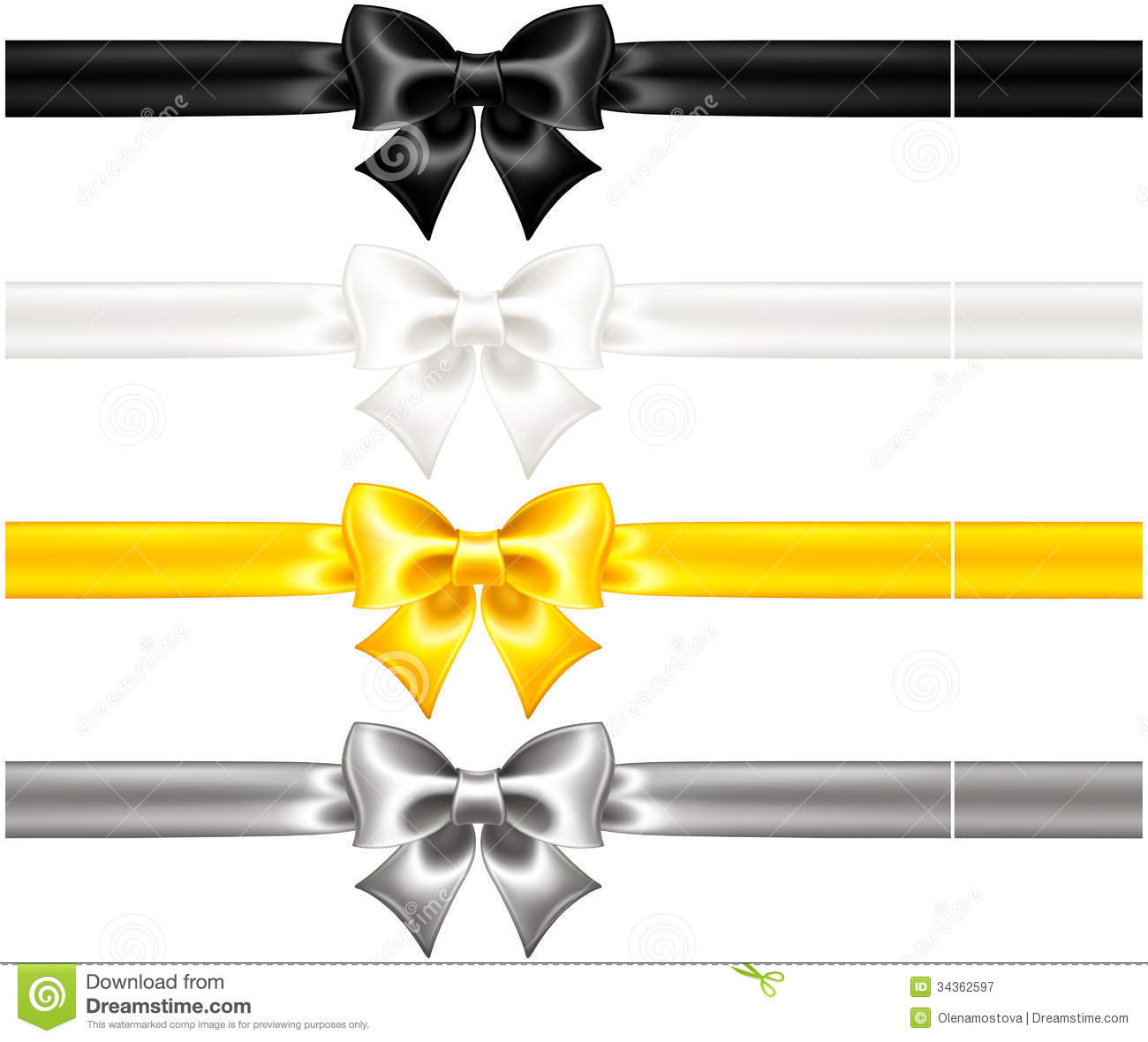 Silk Bows Black And Gold With Ribbons Royalty Free Stock