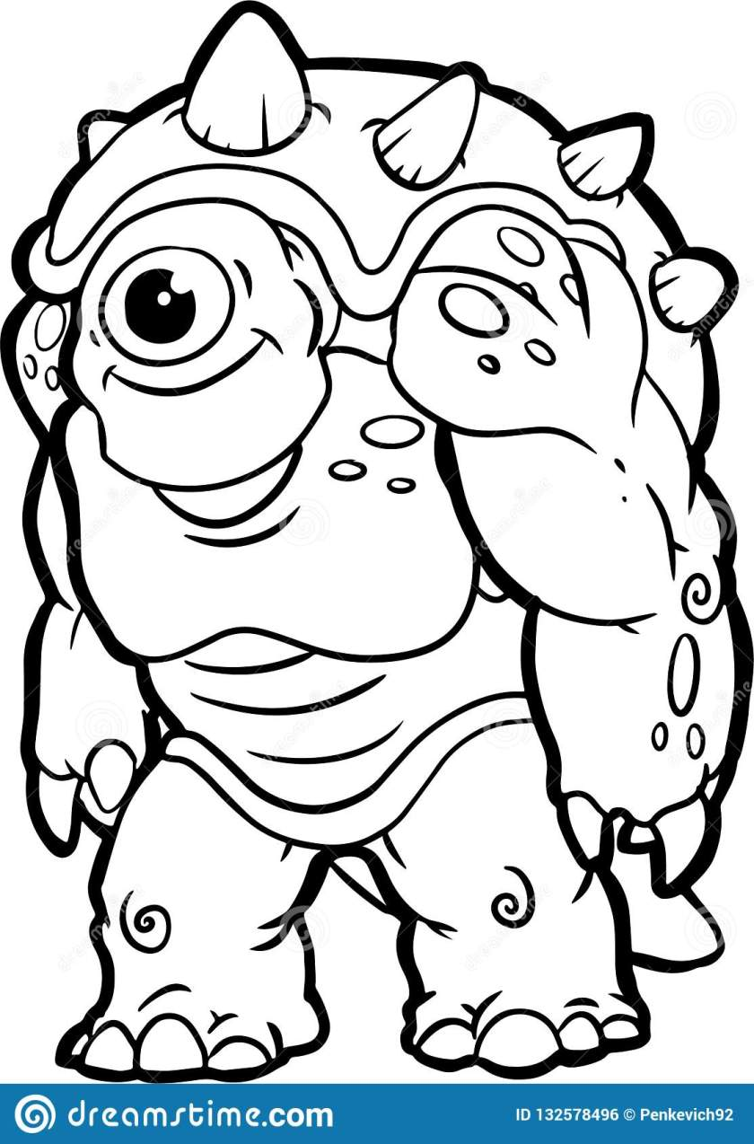 silly halloween monster art. coloring book stock vector