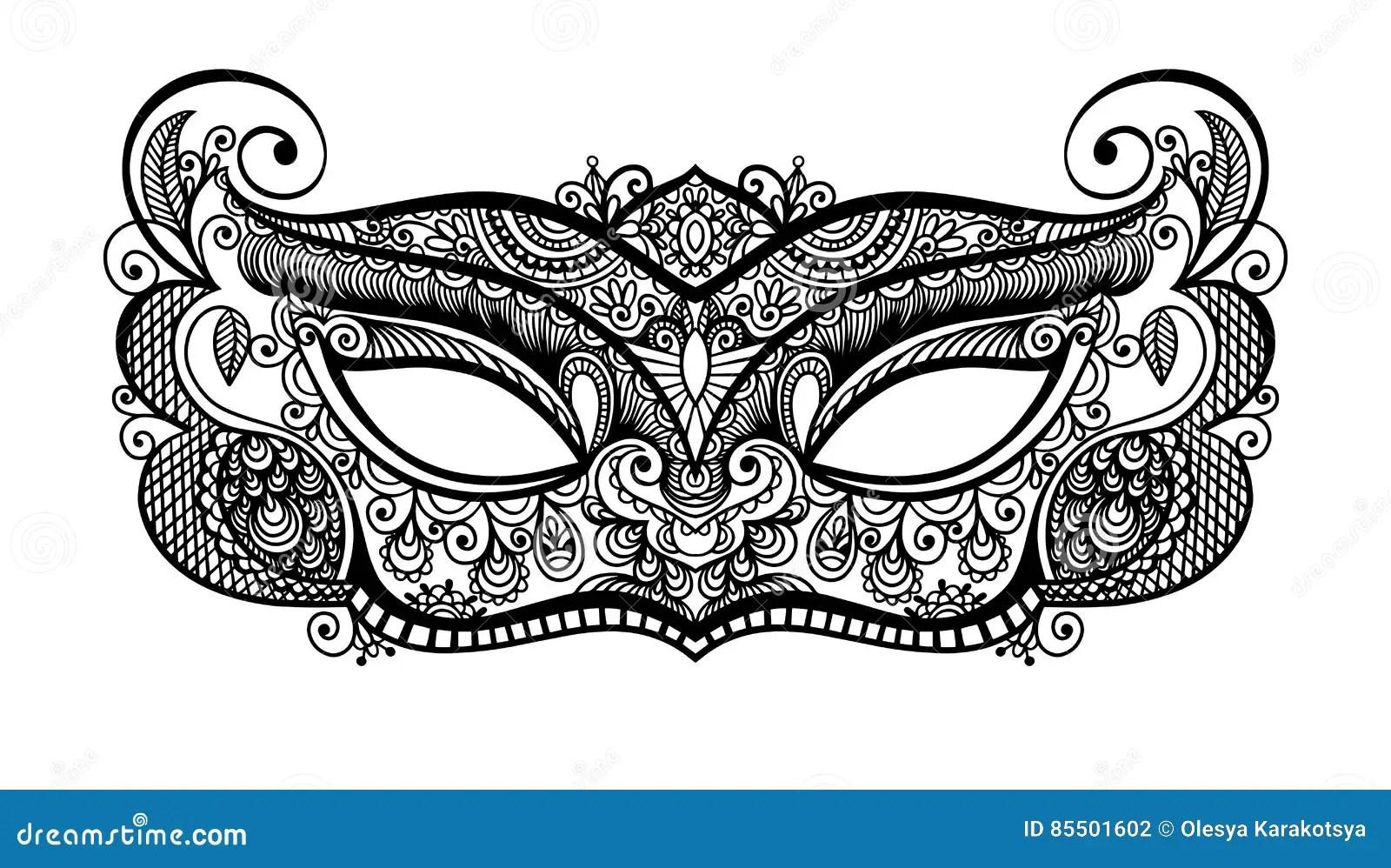 Silueta Veneciana De La Máscara Del Carnaval Del Lineart