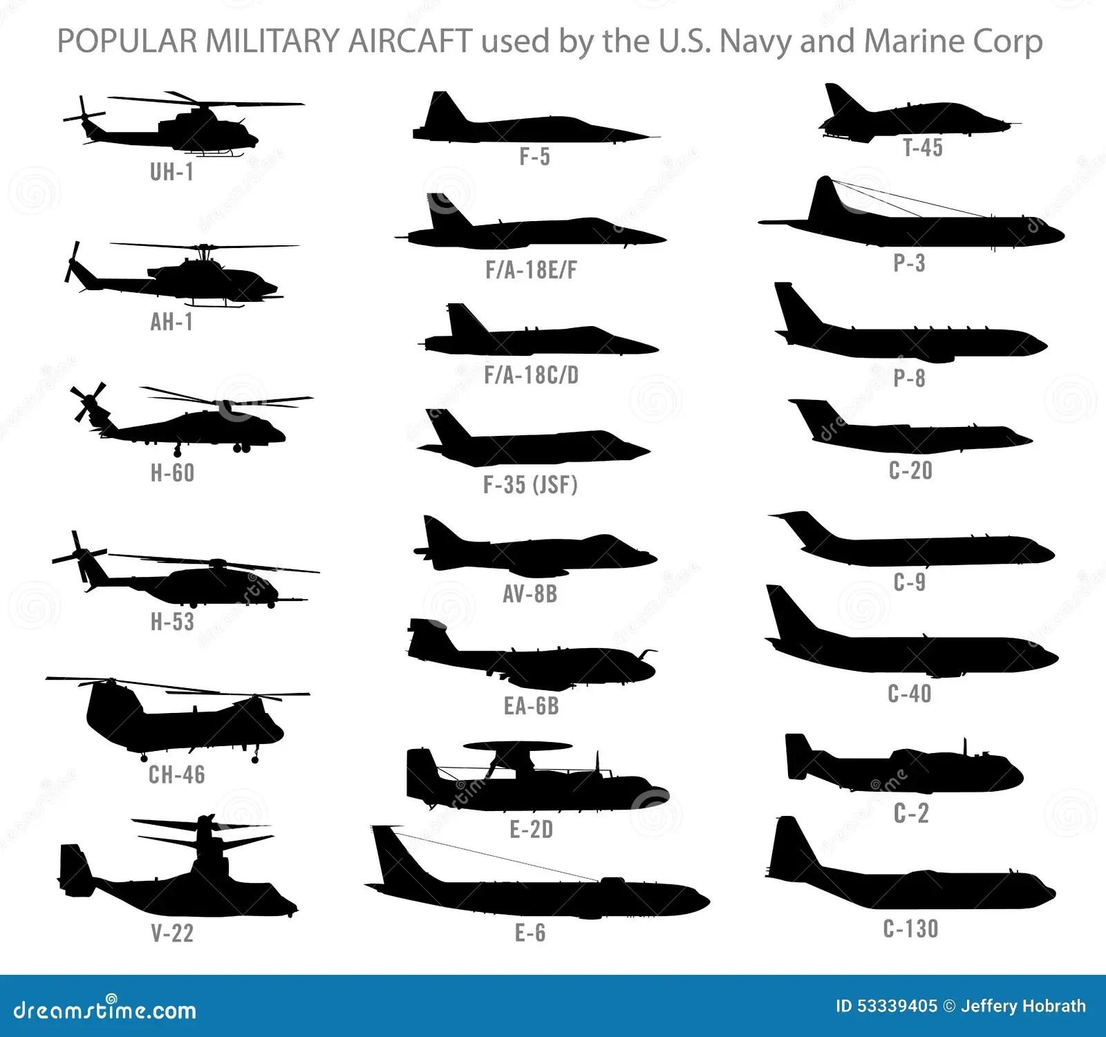 Siluetas Modernas De Los Aviones Militares Ilustracion Del