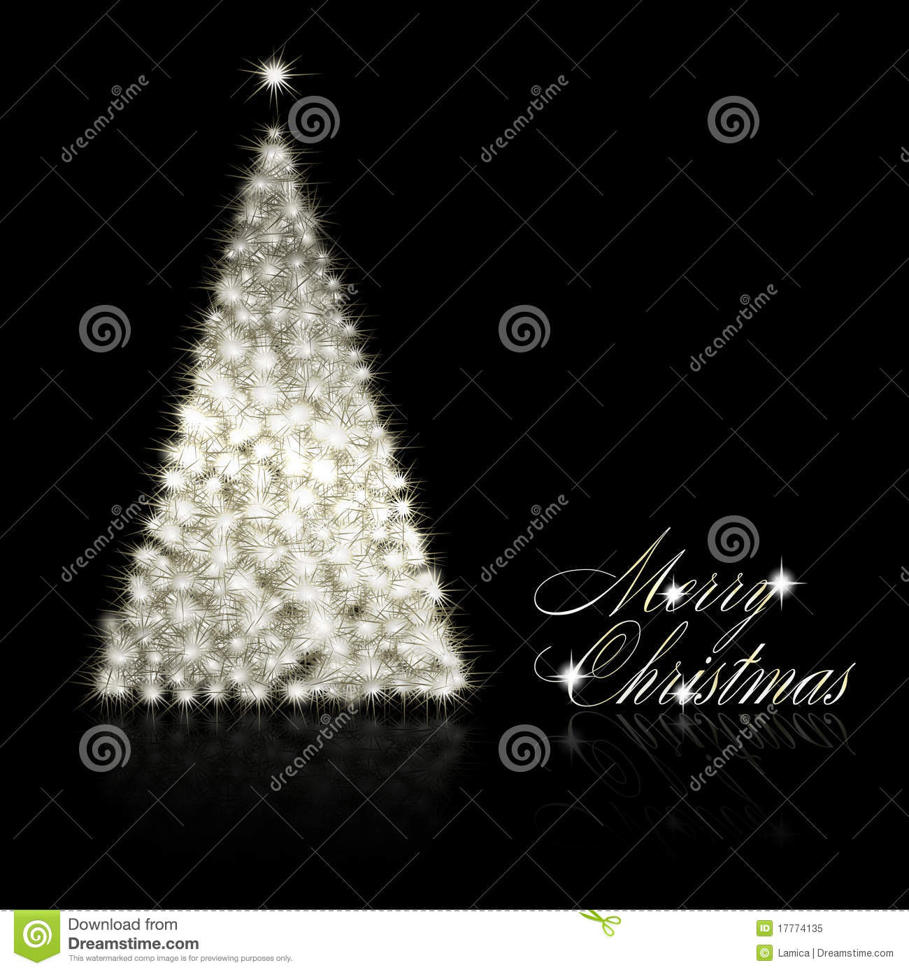Silver Christmas Tree On Black Background Stock Vector