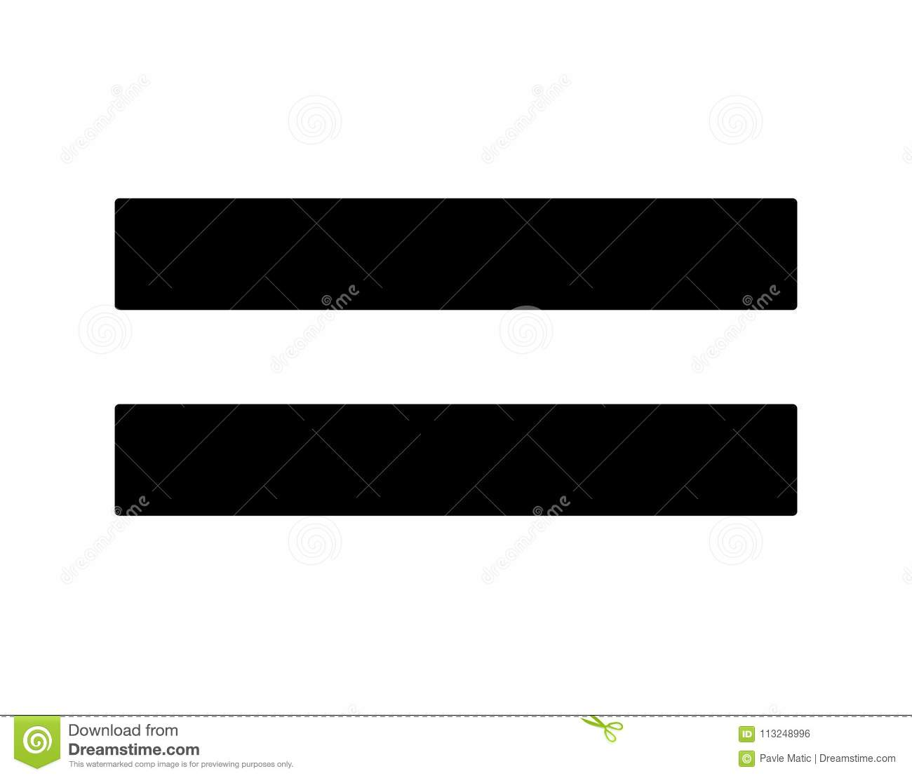 hight resolution of a simple black equality sign used in maths done as a minimal graphic