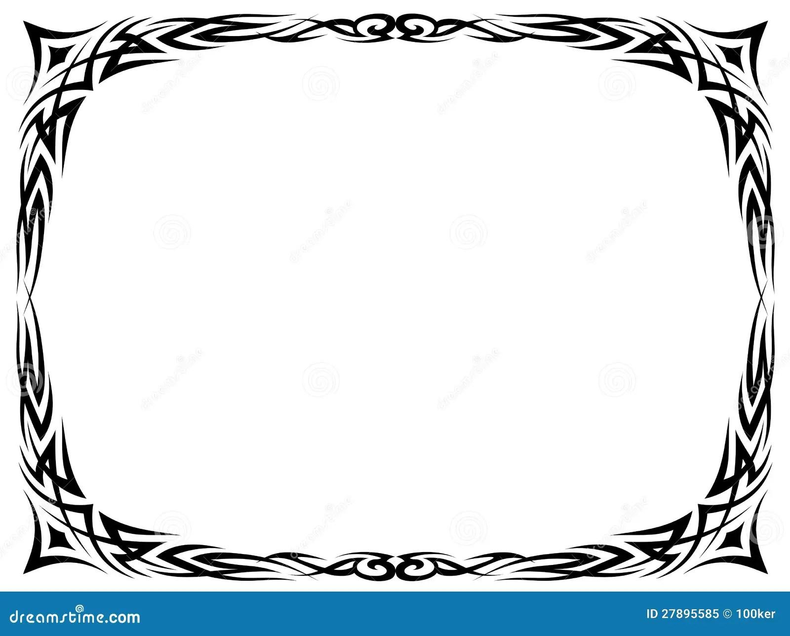 Simple Black Tattoo Ornamental Decorative Frame Royalty