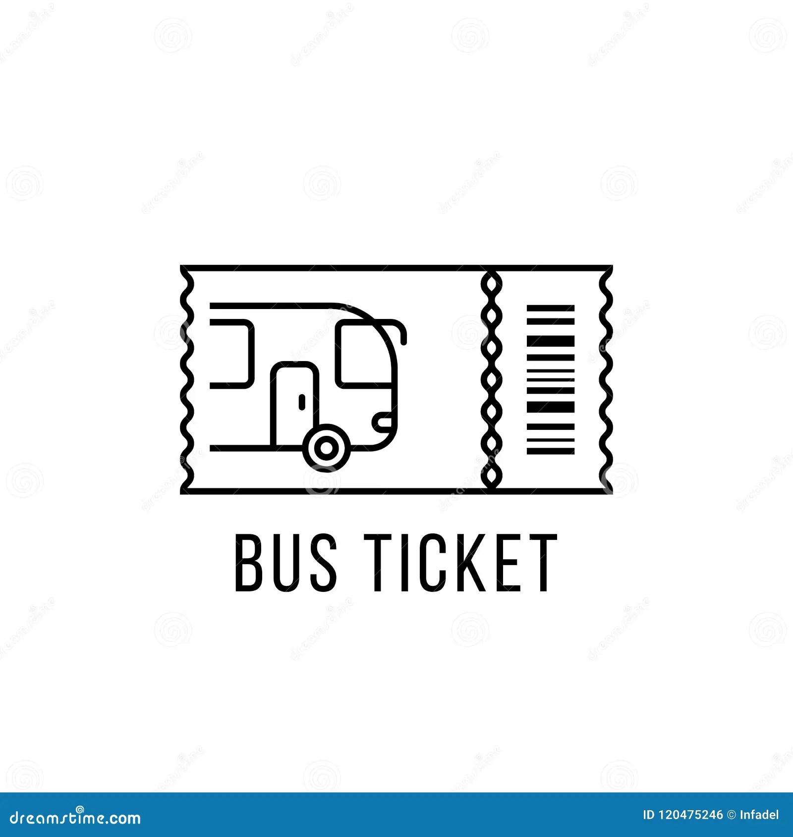 Simple Black Thin Line Bus Ticket Logo Stock Vector