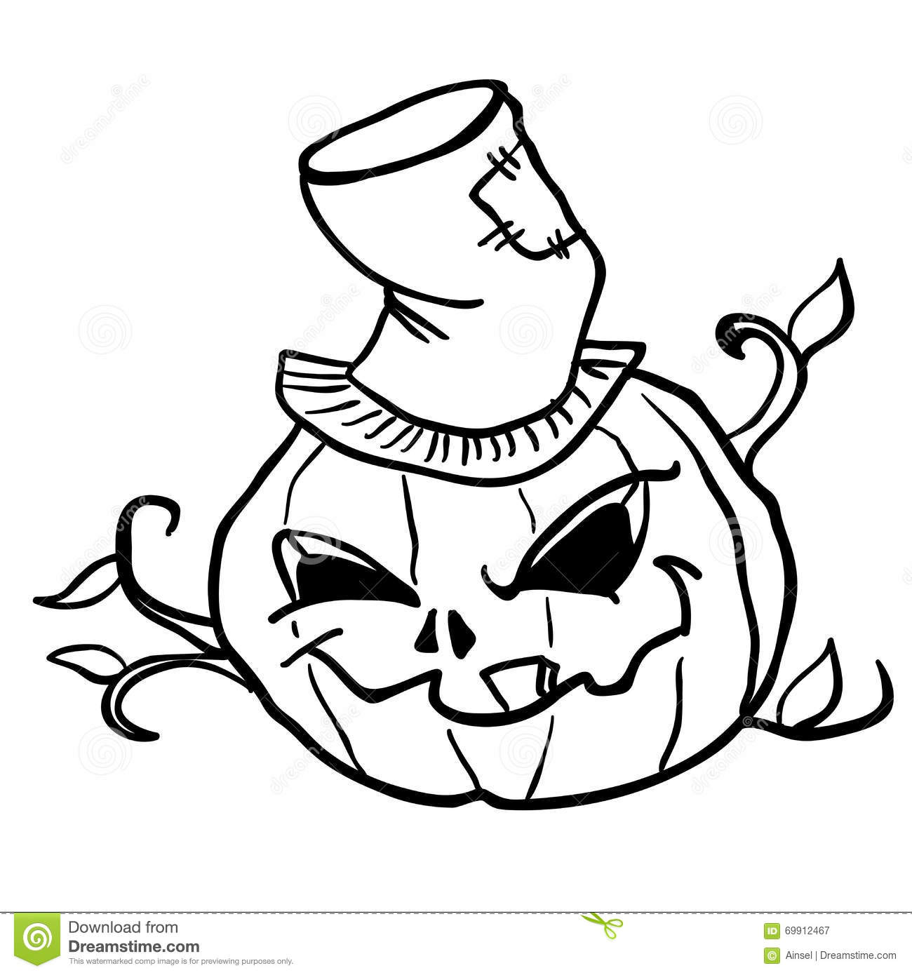 Simple Black And White Pumpkin Head 1 Stock Vector