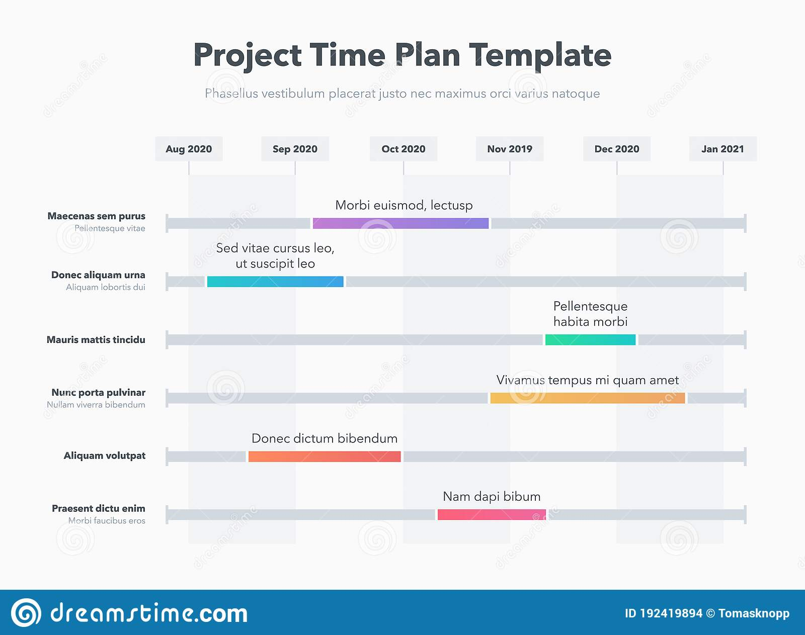 A business plan is essential to a small business's strategy. Simple Business Project Time Plan Template With Colorful Project Tasks In Time Intervals Stock Vector Illustration Of Forecasting Graph 192419894