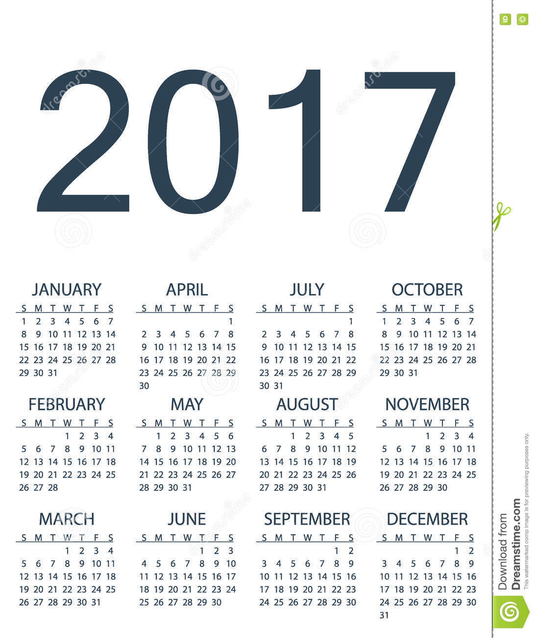 Simple Calendar For 2017 Year Stock Illustration Image 78910736