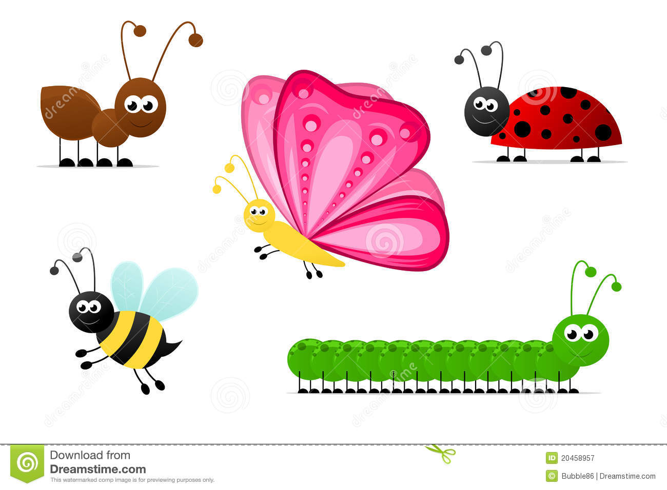 Simple Cartoon Insects Stock Vector Image Of Flying
