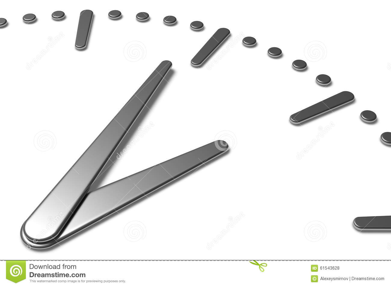 Simple Clock Face With Metal Hands And Marks Stock