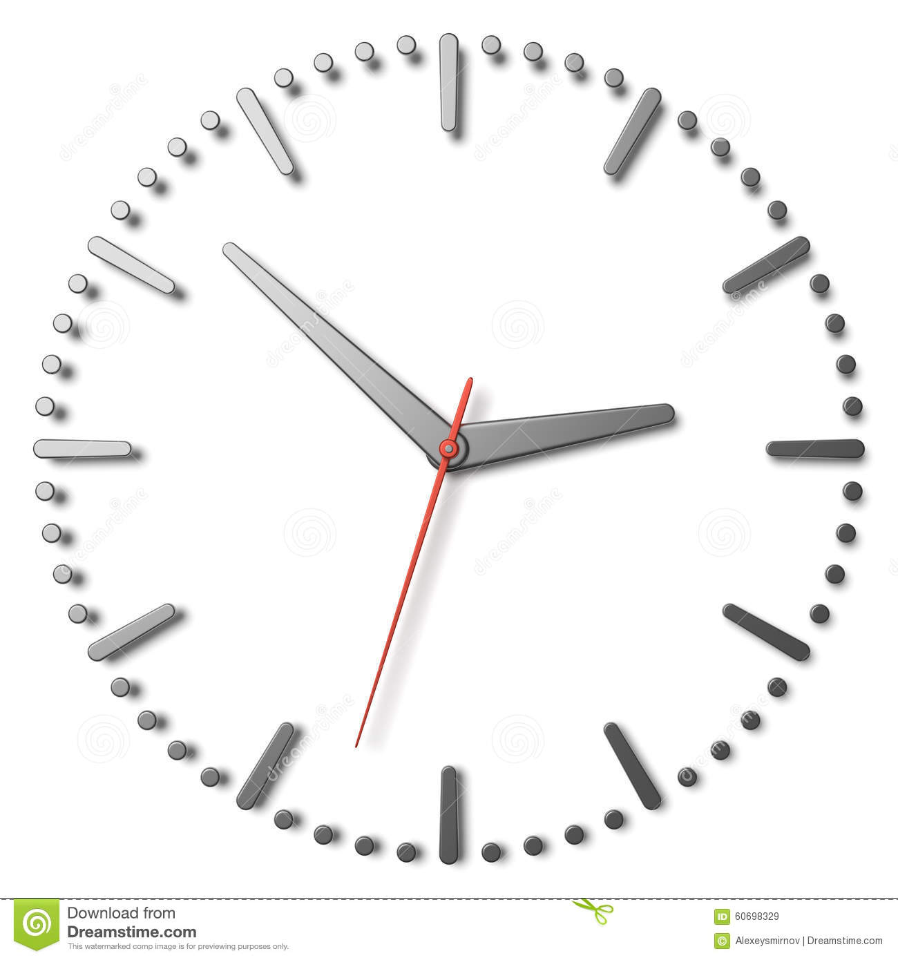 Simple Clock Face With Metal Hands And Marks And Red