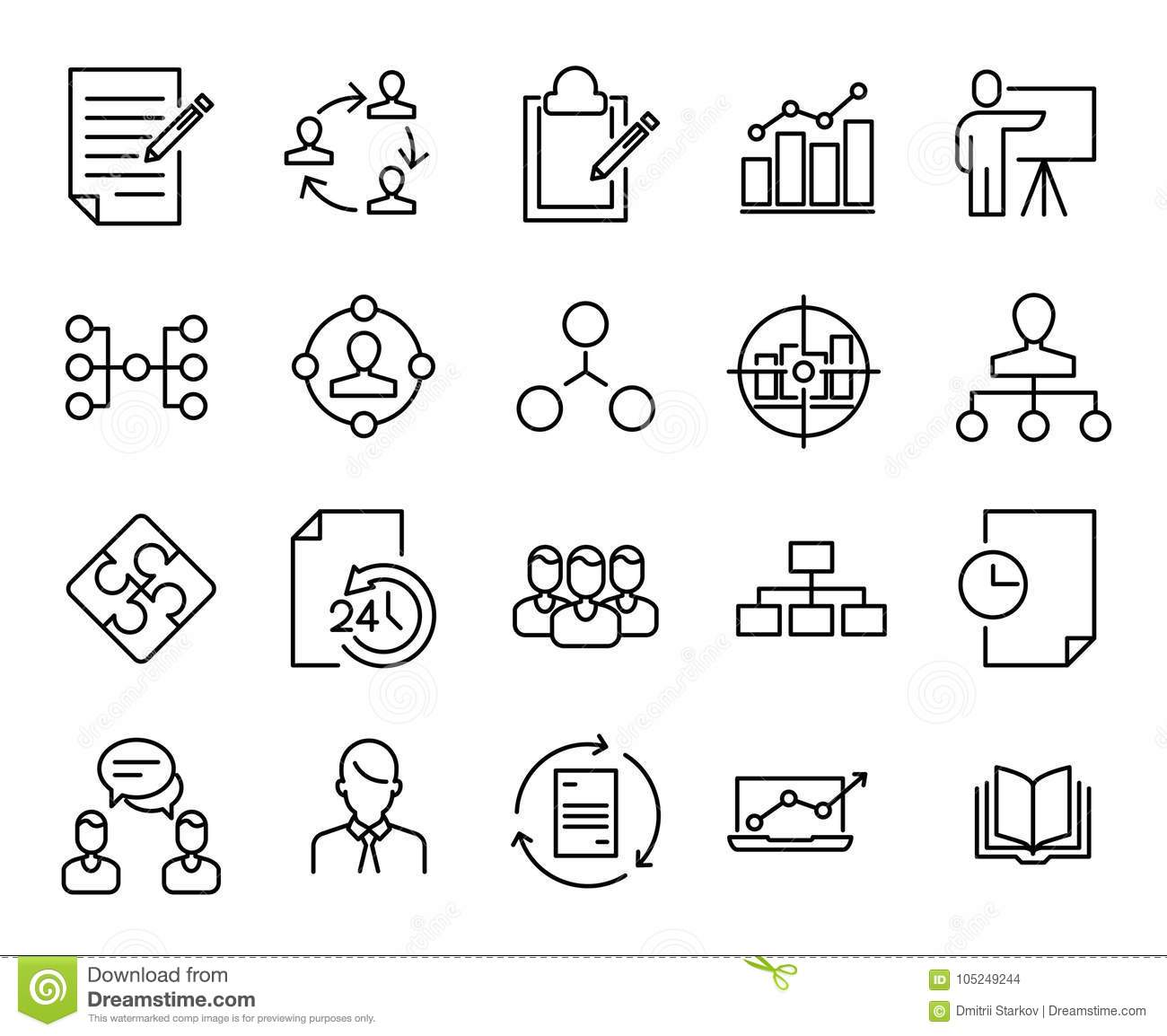 Simple Collection Of Scrum Agile Related Line Icons Stock
